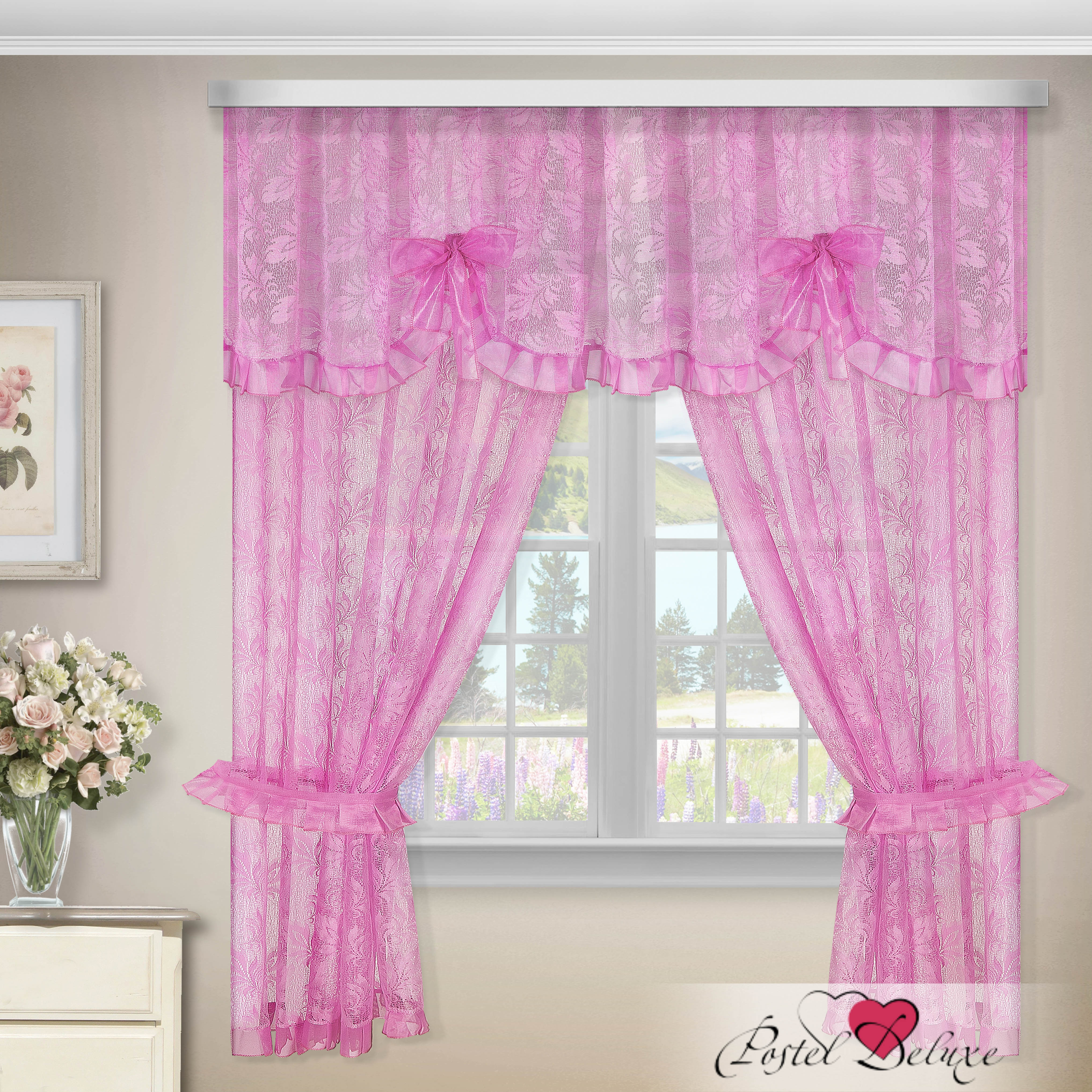 Шторы Zlata Korunka Шторы с ламбрекеном Nevaeh Цвет: Розовый как тюль на окно