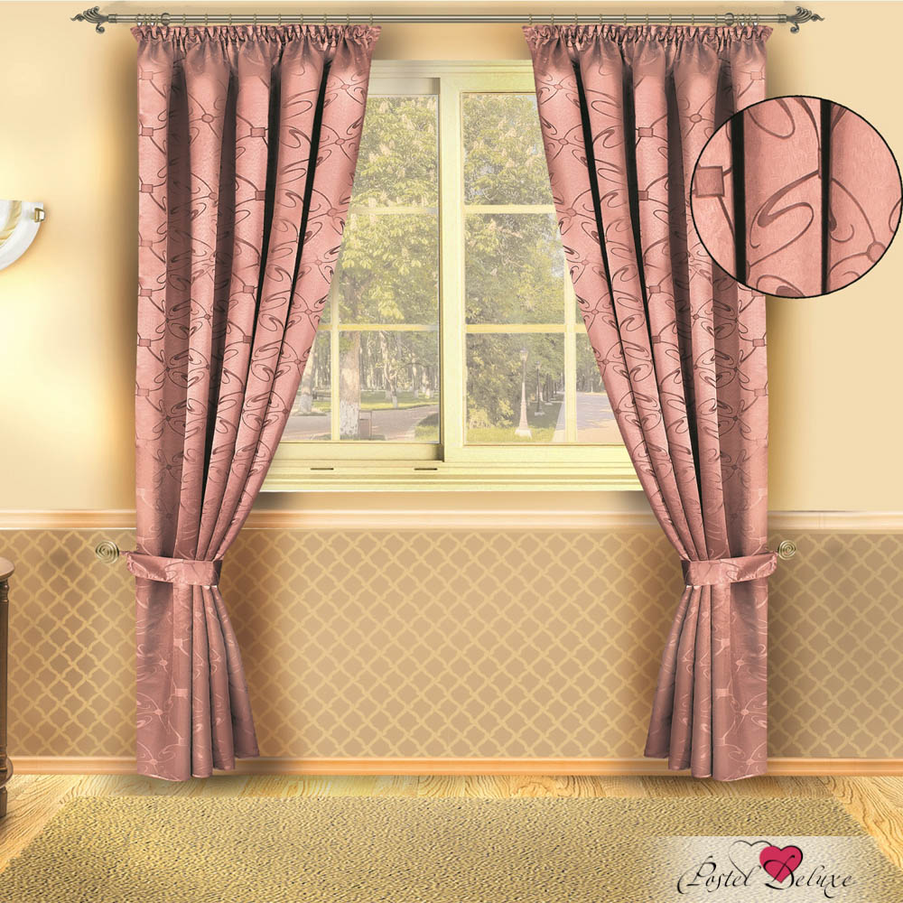 Шторы Zlata Korunka Классические шторы Sarezzo Цвет: Розовый шторы tac классические шторы глянец цвет портьер розовый цвет тюля белый с бежевой полоской