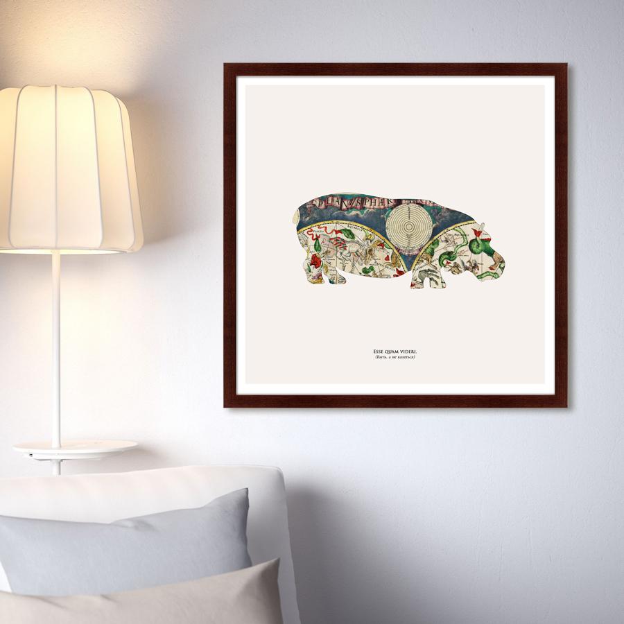 Купить Картины, постеры, гобелены, панно Картины в Квартиру, Картина Бегемот (79х79 см), Россия, Зеленый, Дерево, Стекло, Бумага
