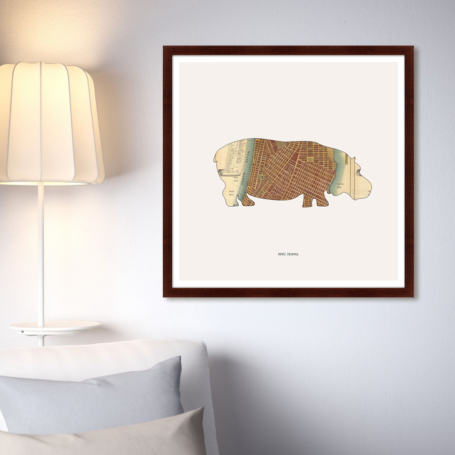 Купить Картины, постеры, гобелены, панно Картины в Квартиру, Картина Hippo (79х79 см), Россия, Бежевый, Дерево, Стекло, Бумага