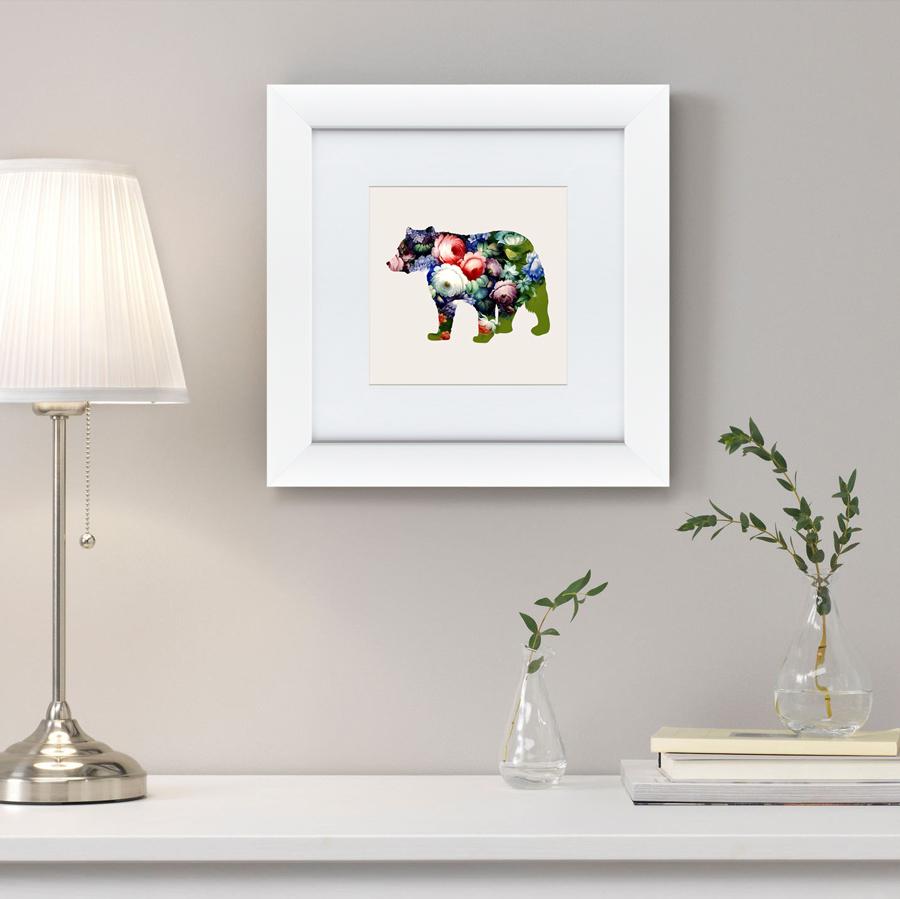 Картины, постеры, гобелены, панно Картины в Квартиру Картина Русская Краса, Медведь В Цветах №2 (35х35 см)