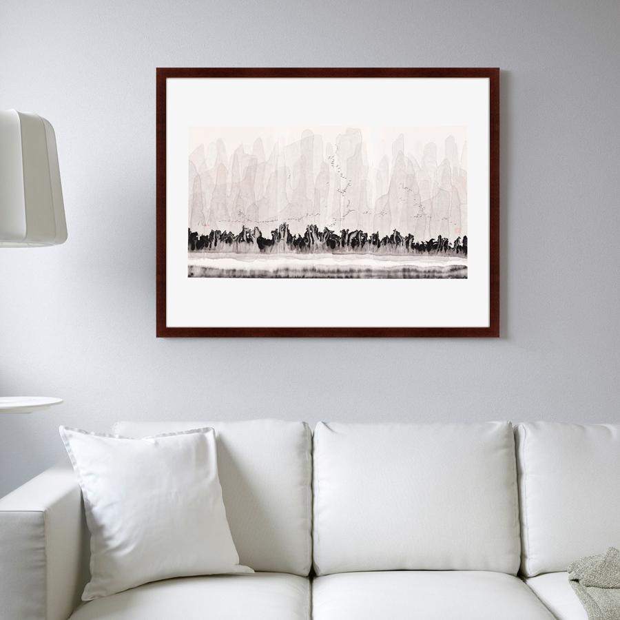 Купить Картины, постеры, гобелены, панно Картины в Квартиру, Картина Горы (79х100 см), Россия, Бежевый, Дерево, Стекло, Бумага