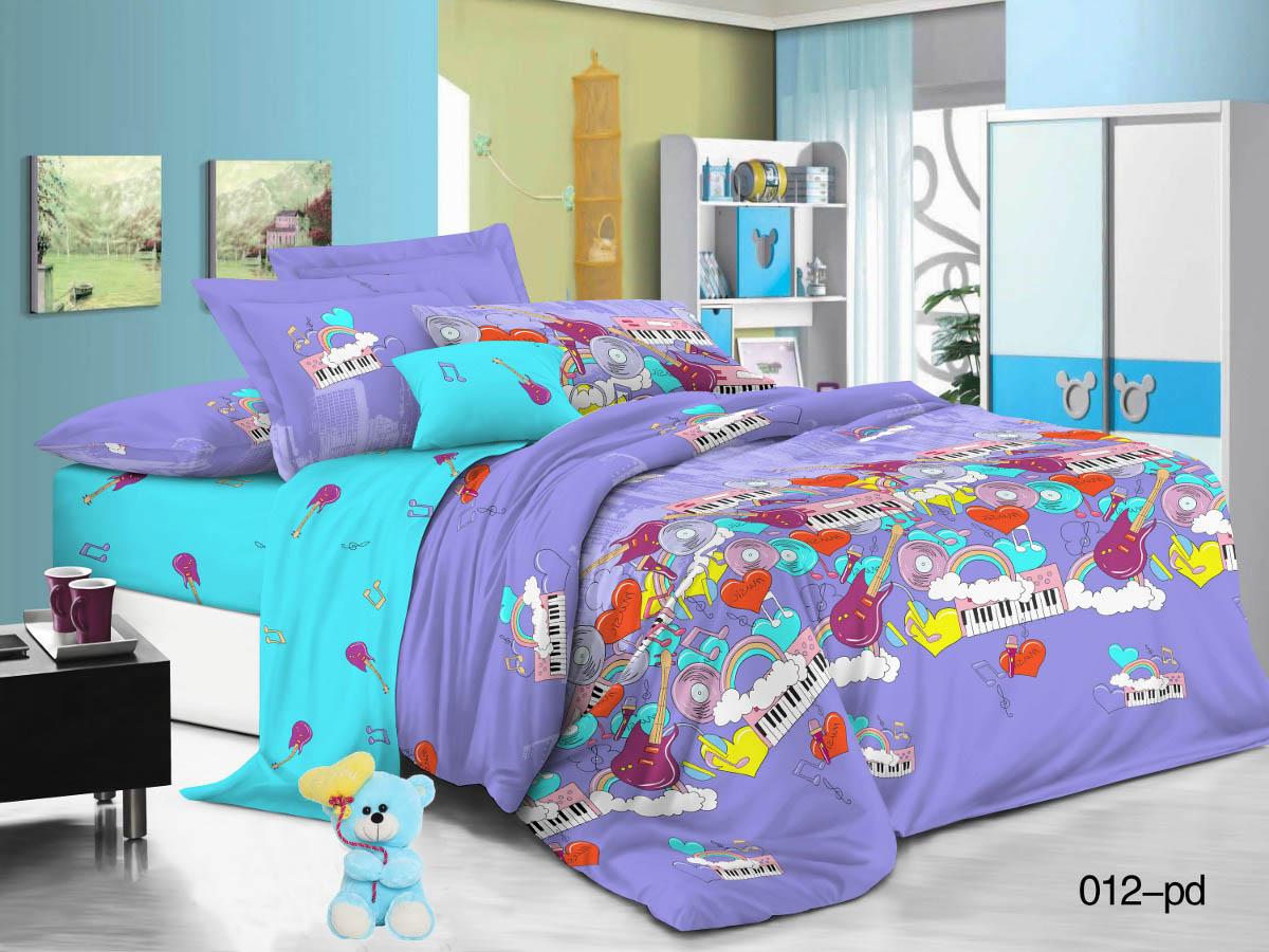 Купить Детское постельное белье Cleo, Детское Постельное белье Мелодия (145х215 см), Китай, Голубой, Сиреневый, Поплин