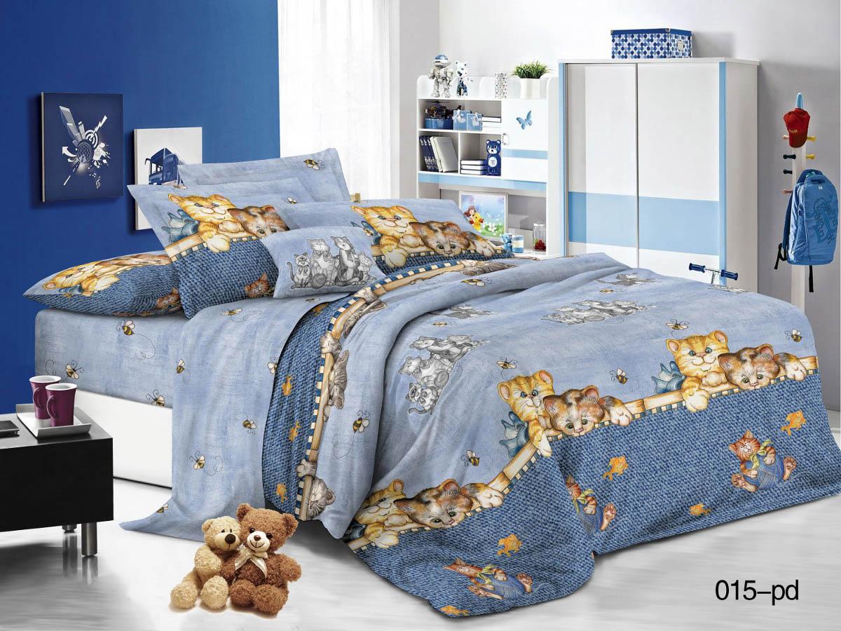 Купить Детское постельное белье Cleo, Детское Постельное белье Котята (145х215 см), Китай, Голубой, Синий, Поплин