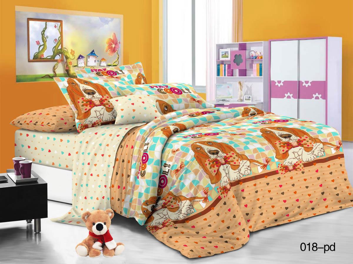Купить Детское постельное белье Cleo, Детское Постельное белье Бассет (145х215 см), Китай, Зеленый, Оранжевый, Поплин