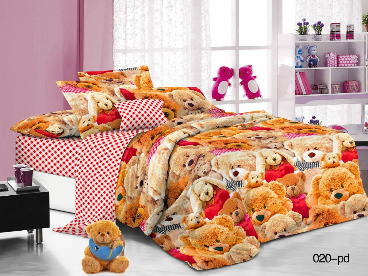 Купить Детское постельное белье Cleo, Детское Постельное белье Мишки (145х215 см), Китай, Красный, Оранжевый, Поплин