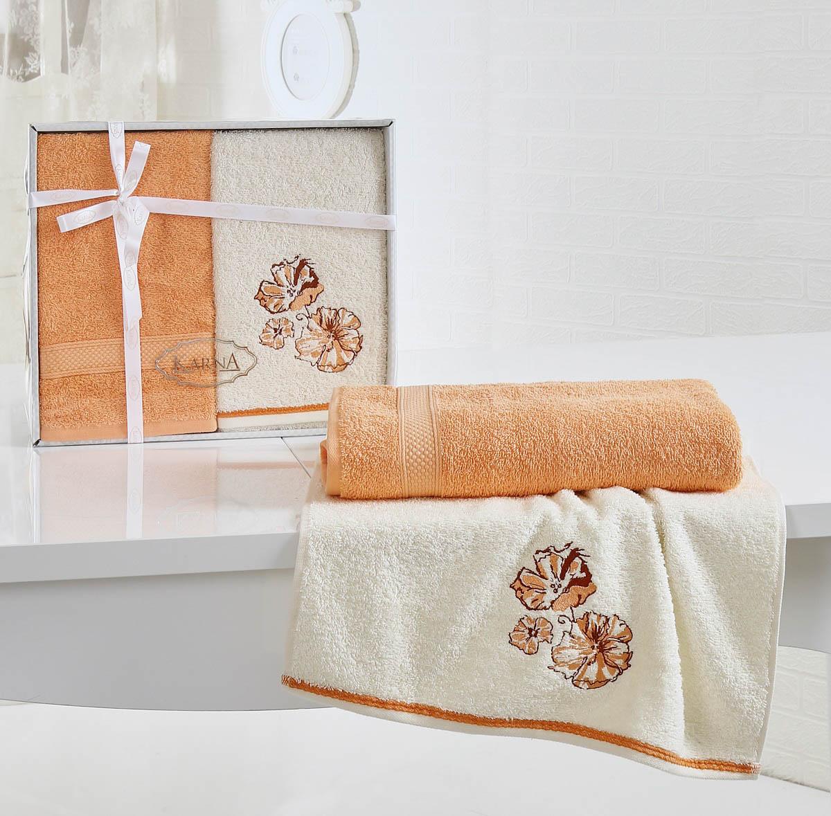 Купить Полотенца Karna, Полотенце Rodos Цвет: Абрикосовый (Набор), Турция, Оранжевый, Махра