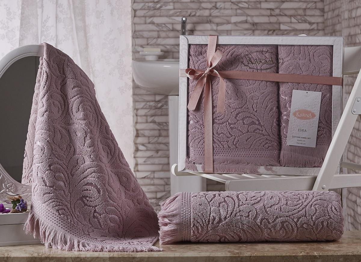 Купить Полотенца Karna, Полотенце Esra Цвет: Грязно-Розовый (Набор), Турция, Махра