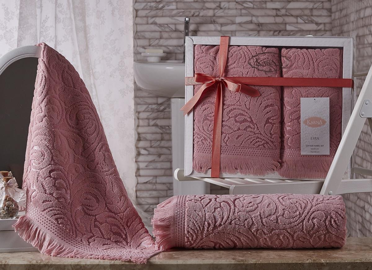 Купить Полотенца Karna, Полотенце Esra Цвет: Розовый (Набор), Турция, Махра