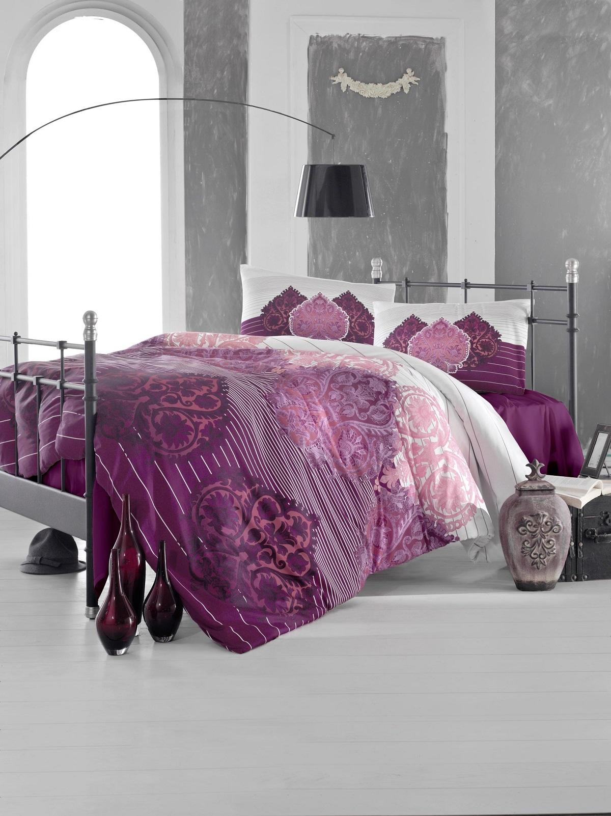 Купить Комплекты постельного белья Altinbasak, Постельное белье Leyan Цвет: Бордовый (2 сп. евро), Турция, Бязь