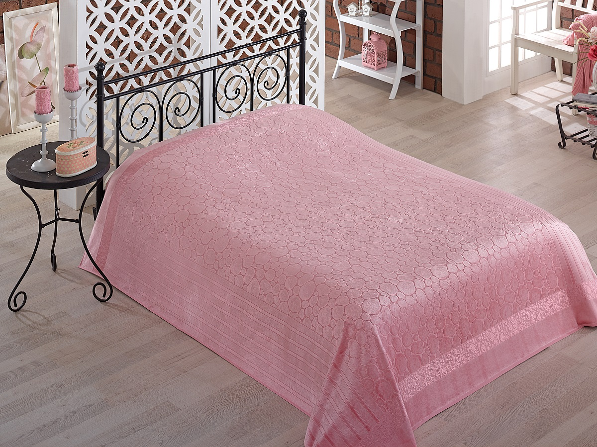 Купить Простыни Pupilla, Простынь-покрывало Gobel Цвет: Грязно-Розовый (200х220 см), Турция, Бамбуковый велюр