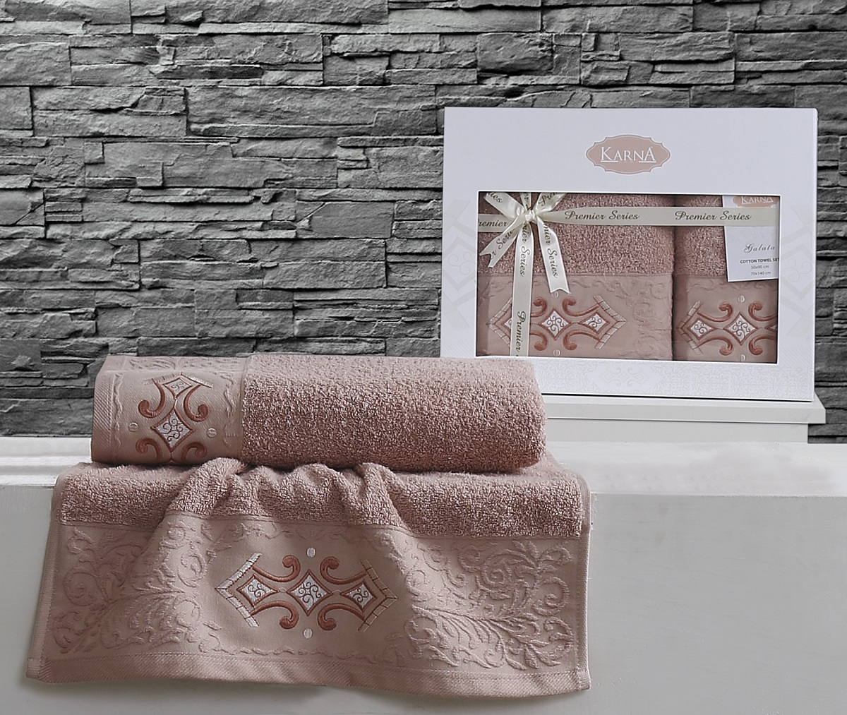 Купить Полотенца Karna, Полотенце Galata Цвет: Грязно-Розовый (Набор), Турция, Махра