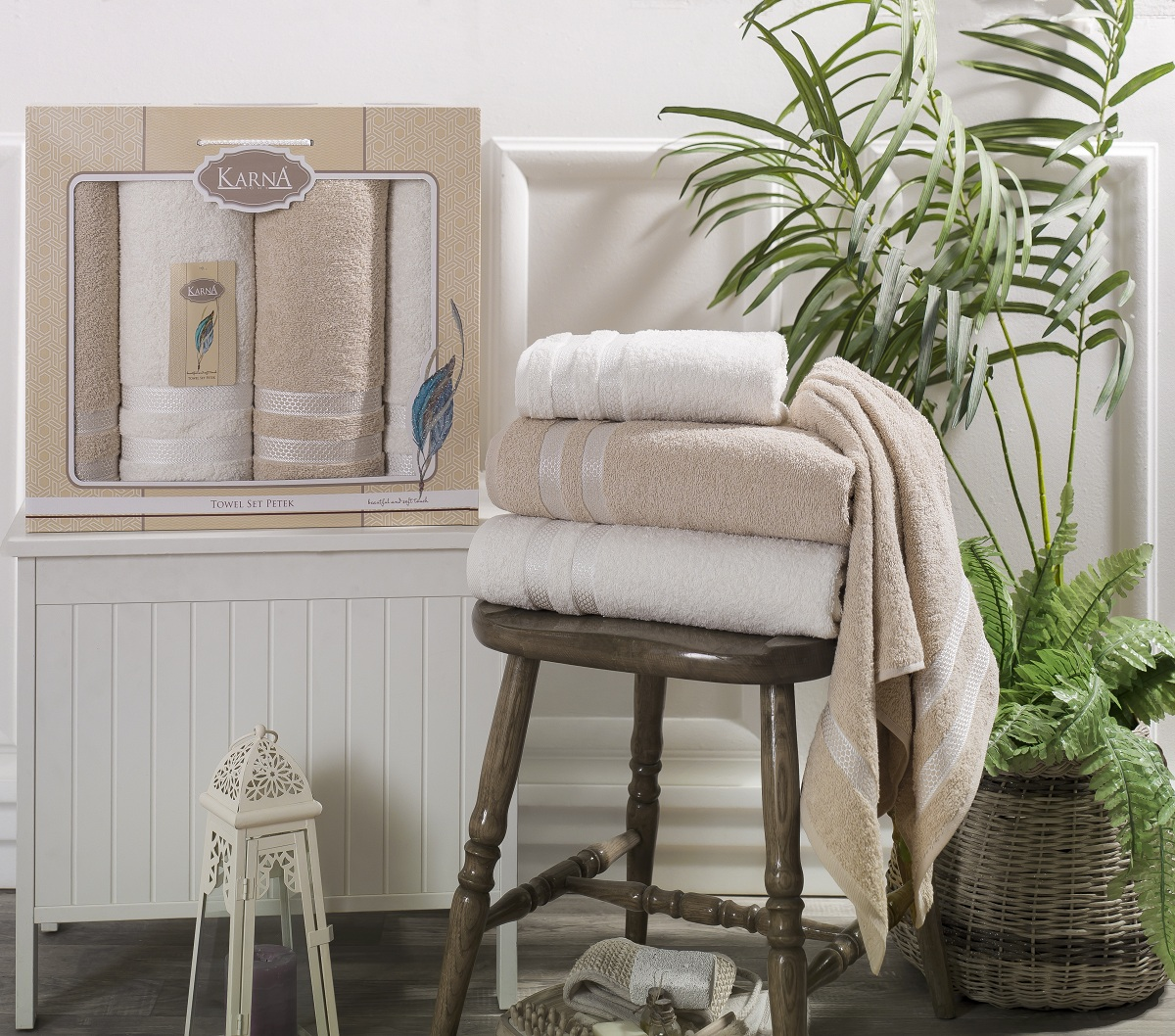 Полотенца Karna Полотенце Petek Цвет: Кремовый, Бежевый (Набор) полотенца karna полотенце petek цвет кремовый синий набор