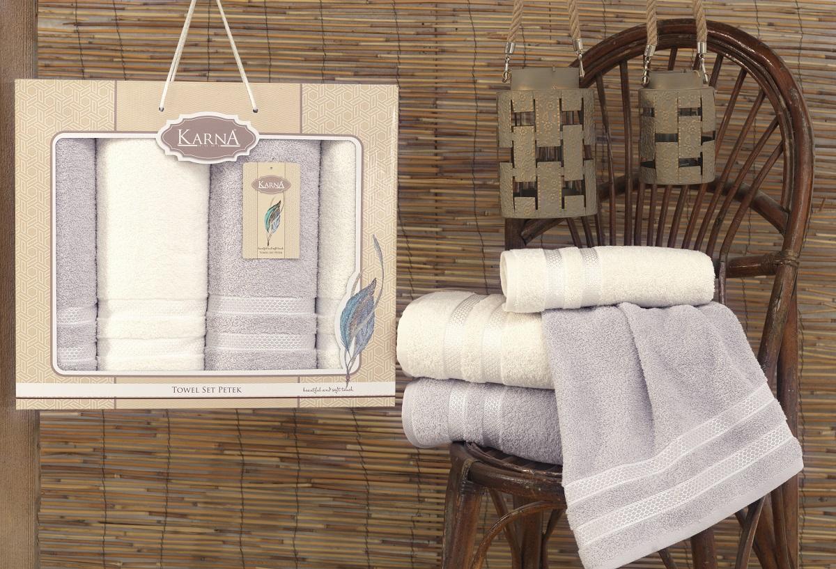Полотенца Karna Полотенце Petek Цвет: Кремовый-Серый (Набор) полотенца karna полотенце petek цвет кремовый синий набор