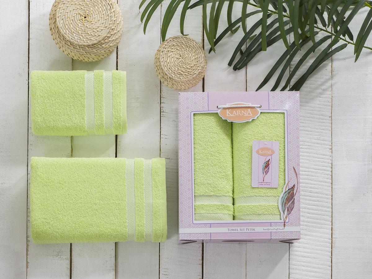 Полотенца Karna Полотенце Petek Цвет:Зеленый (Набор) полотенца karna полотенце petek цвет кремовый синий набор