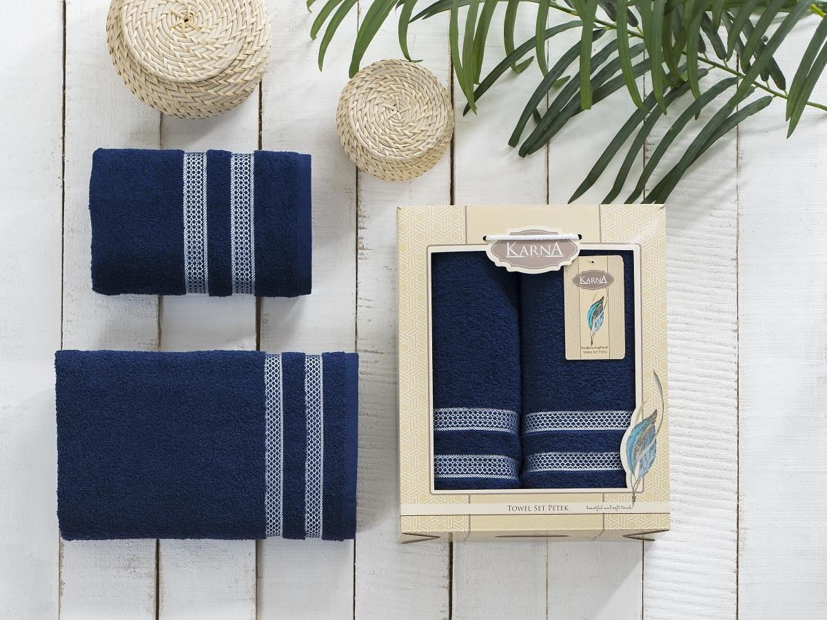 Полотенца Karna Полотенце Petek Цвет:Синий (Набор) полотенца karna полотенце petek цвет кремовый синий набор