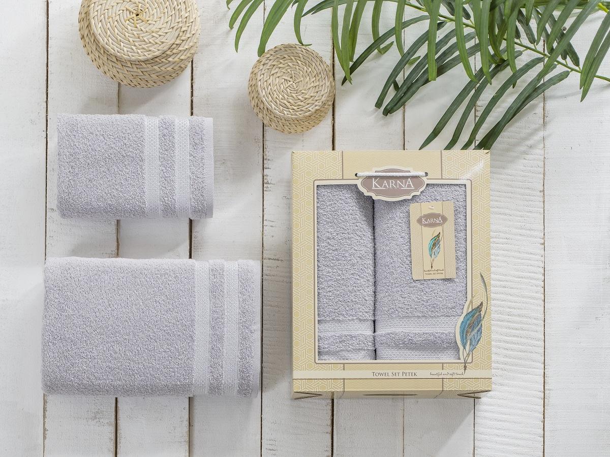 Купить Полотенца Karna, Полотенце Petek Цвет:Серый (Набор), Турция, Махра