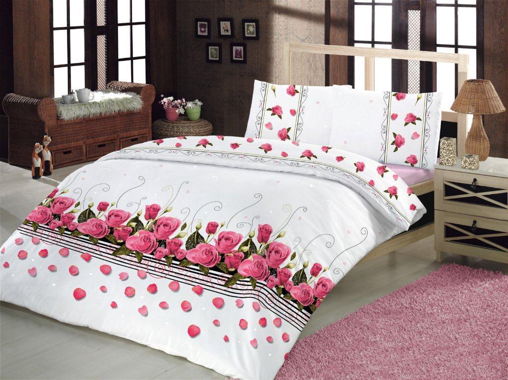 Купить Комплекты постельного белья Altinbasak, Постельное белье Guleste (2 сп. евро), Турция, Белый, Розовый, Бязь