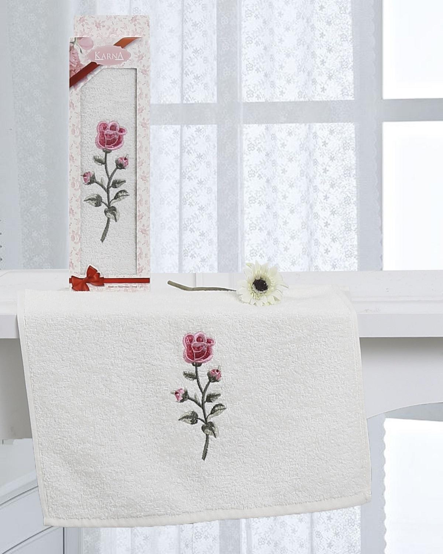 Купить Полотенца Karna, Полотенце Hevin Цвет: Кремовый (40х60 см), Турция, Махра