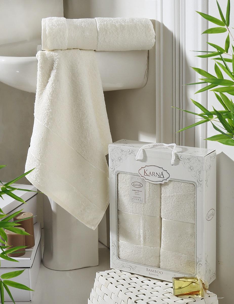 Полотенца Karna Полотенце Pandora Цвет: Кремовый (Набор) полотенца karna полотенце petek цвет кремовый синий набор