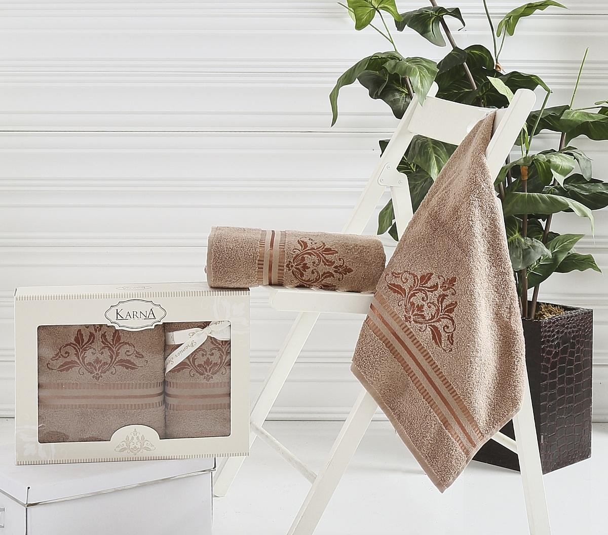 Купить Полотенца Karna, Полотенце Agra Цвет: Коричневый (Набор), Турция, Махра