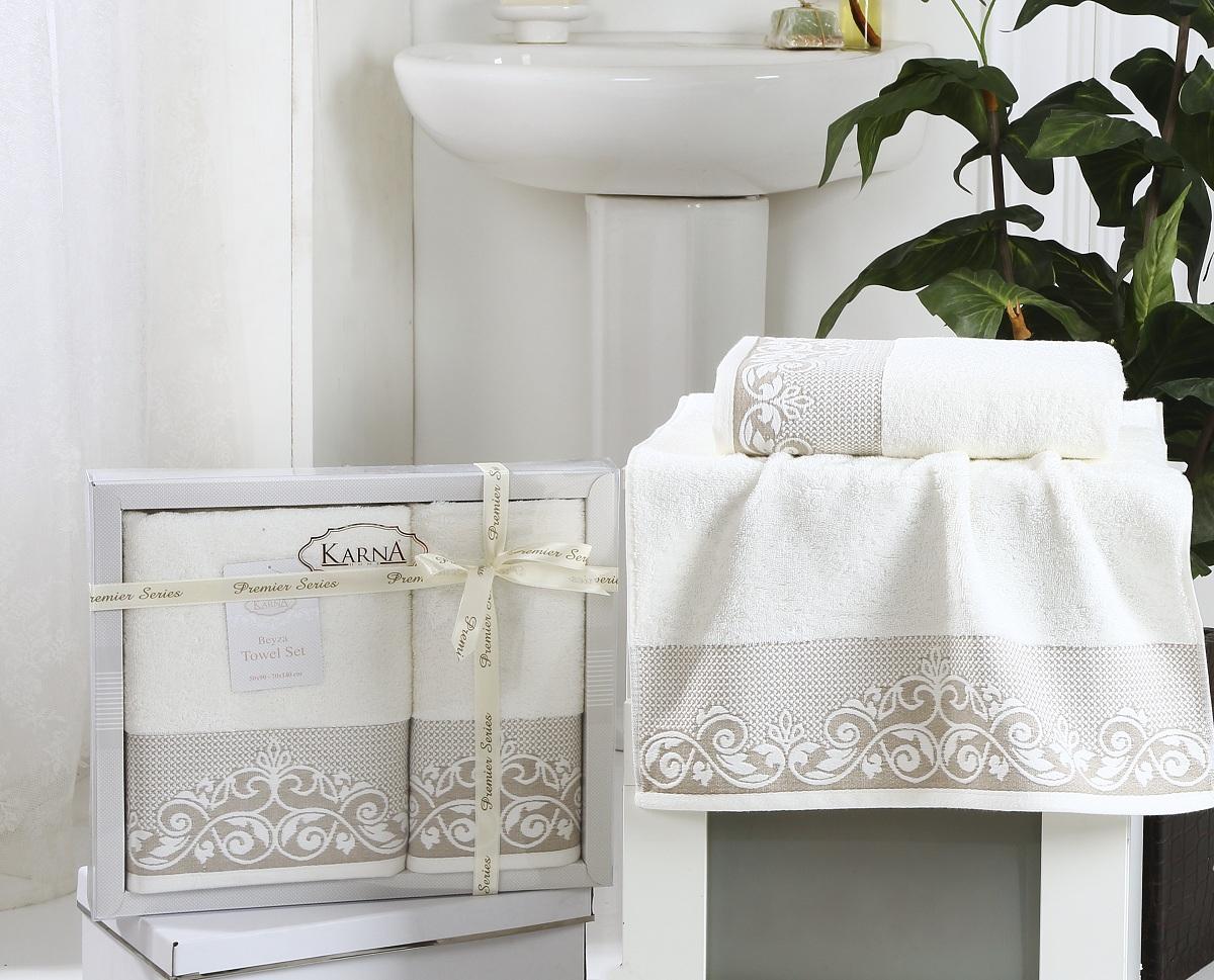 Купить Полотенца Karna, Полотенце Beyza Цвет: Кремовый (Набор), Турция, Махра