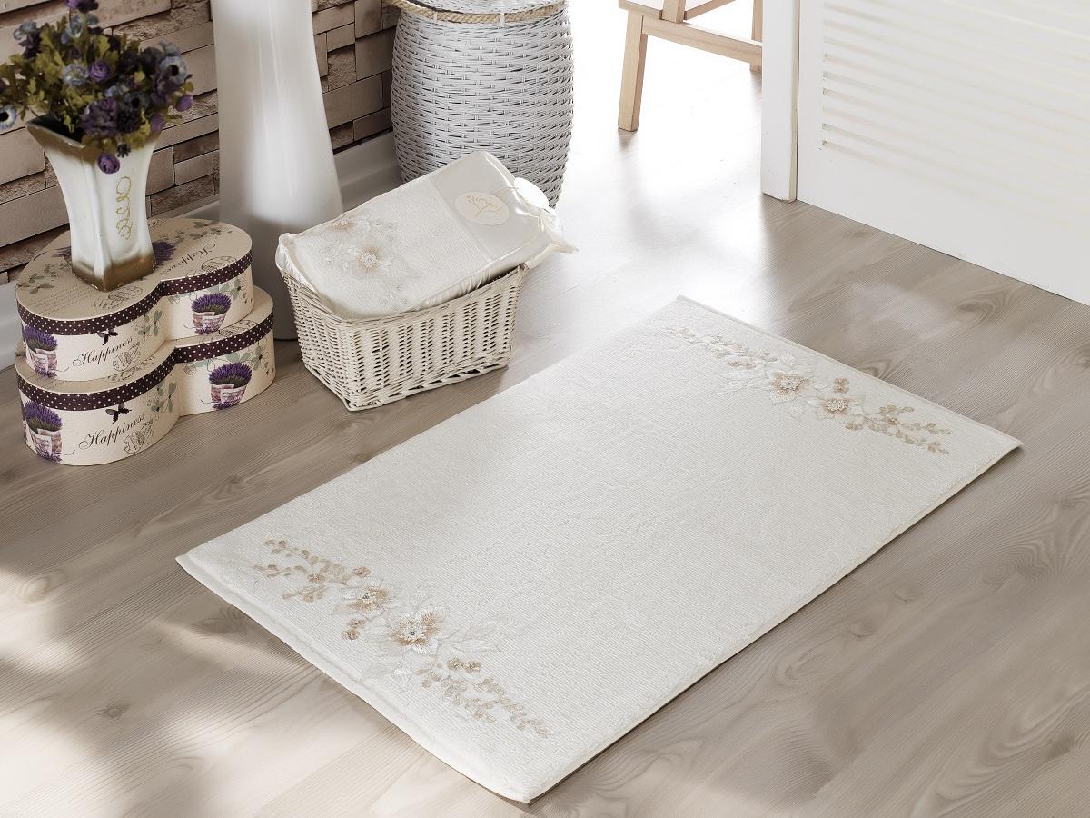 Коврики для ванной и туалета IRYA, Коврик для ванной Fleur Цвет: Кремовый (60х90 см), Турция, Махра  - Купить