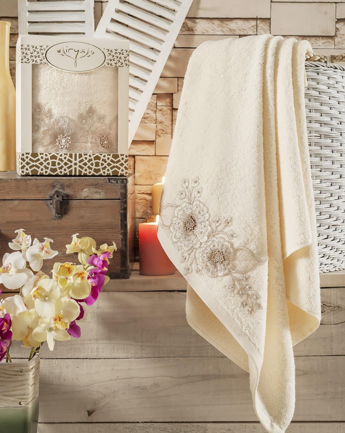 Купить Полотенца IRYA, Полотенце Fleur Цвет: Золотистый (85х150 см), Турция, Махра
