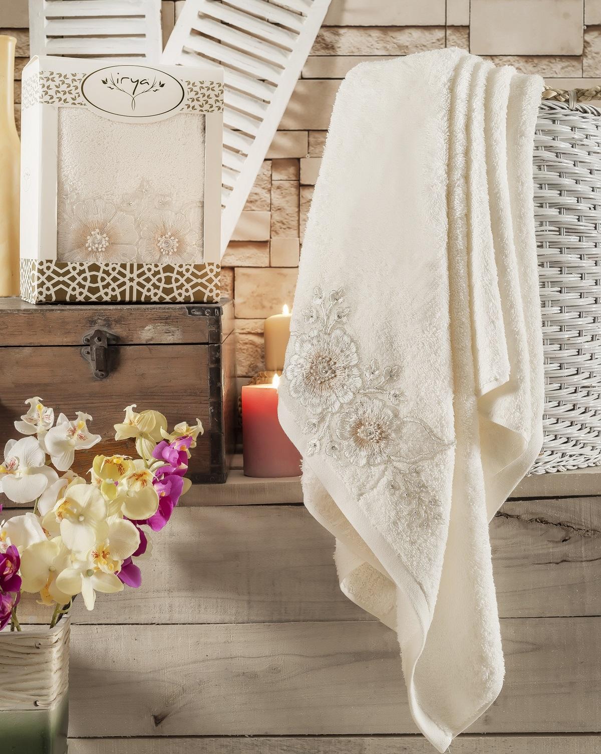 Купить Полотенца IRYA, Полотенце Fleur Цвет: Кремовый (85х150 см), Турция, Махра