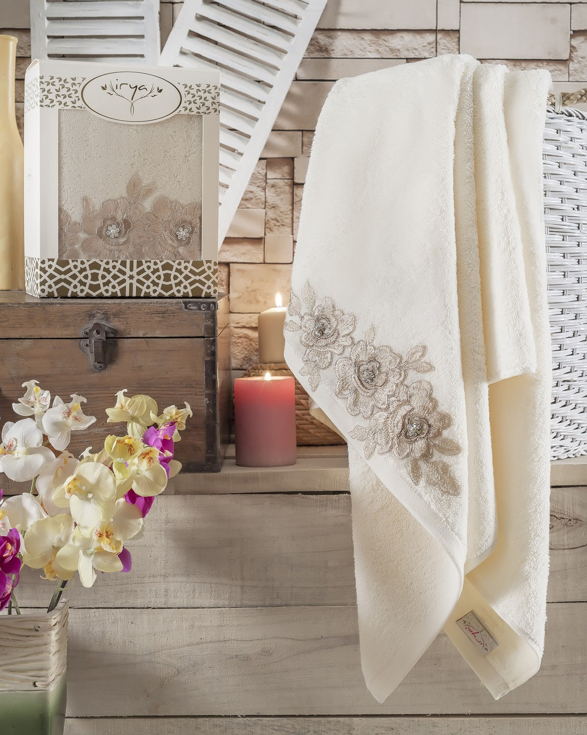 Купить Полотенца IRYA, Полотенце Romantic Цвет: Молочный (85х150 см), Турция, Бежевый, Махра