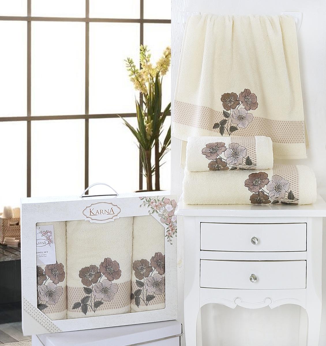 Полотенца Karna Полотенце Sandy Цвет: Кремовый (Набор) полотенца karna полотенце petek цвет кремовый синий набор