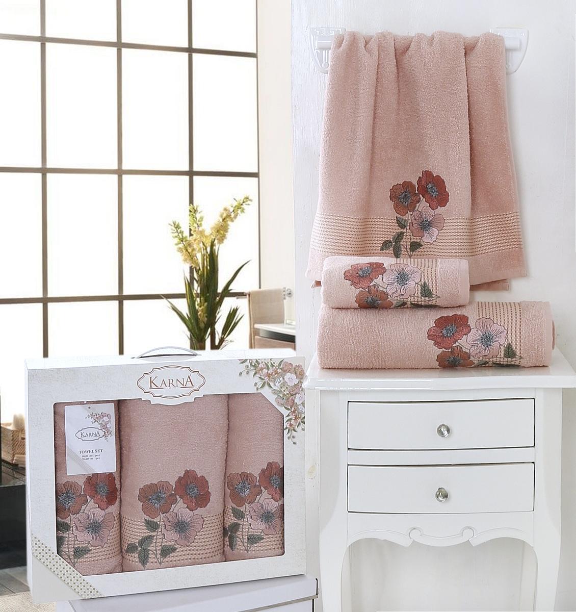 Купить Полотенца Karna, Полотенце Sandy Цвет: Пудра (Набор), Турция, Персиковый, Махра