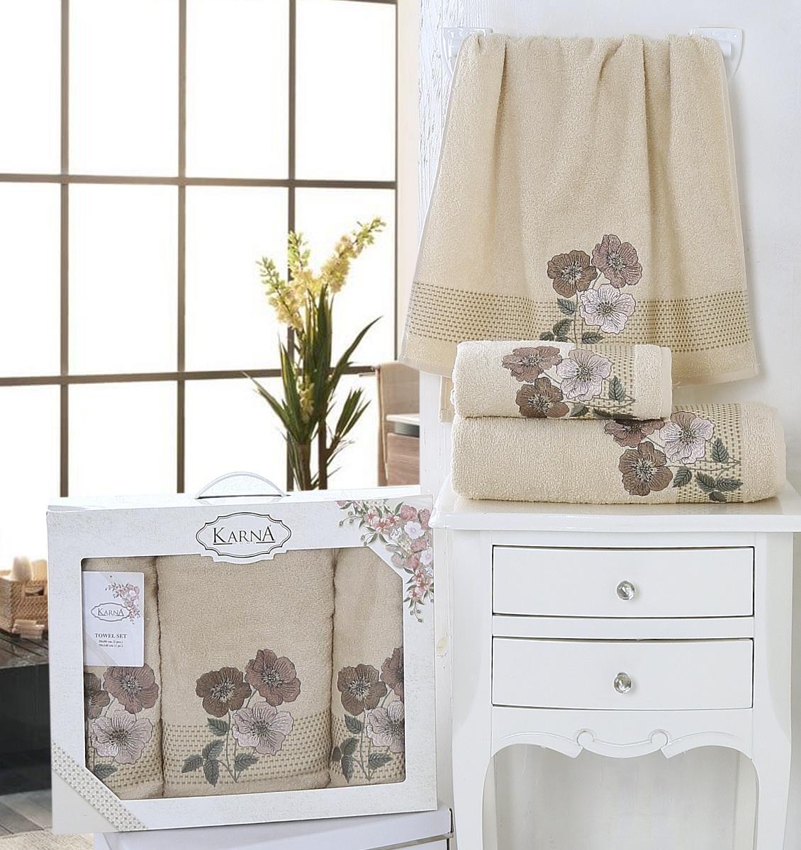 Купить Полотенца Karna, Полотенце Sandy Цвет: Бежевый (Набор), Турция, Махра