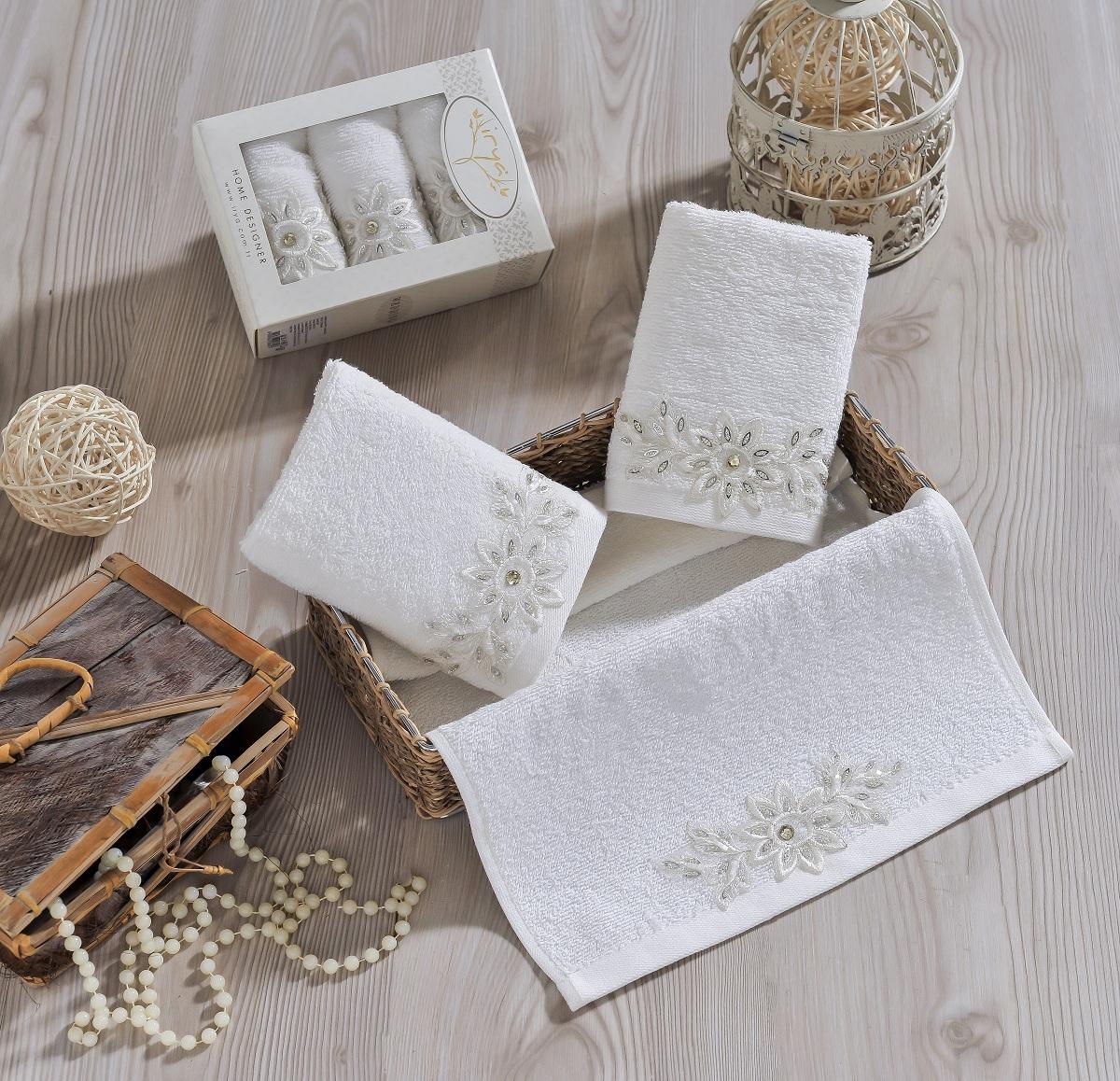 Купить Полотенца IRYA, Полотенце Cool Цвет: Молочный (30х50 см - 3 шт), Турция, Бежевый, Махра