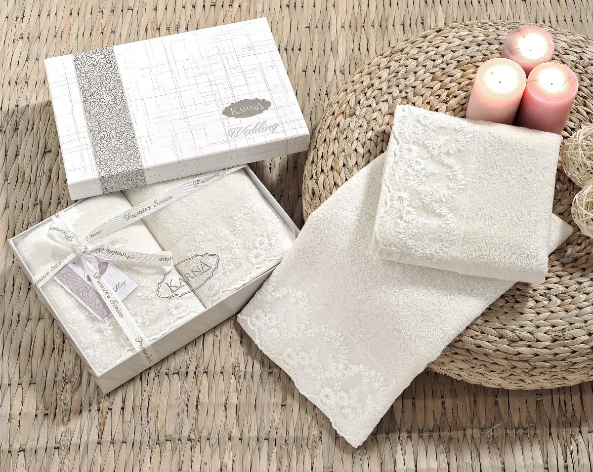 Купить Полотенца Karna, Полотенце Elinda Цвет: Кремовый (50х90 см - 2 шт), Турция, Махра