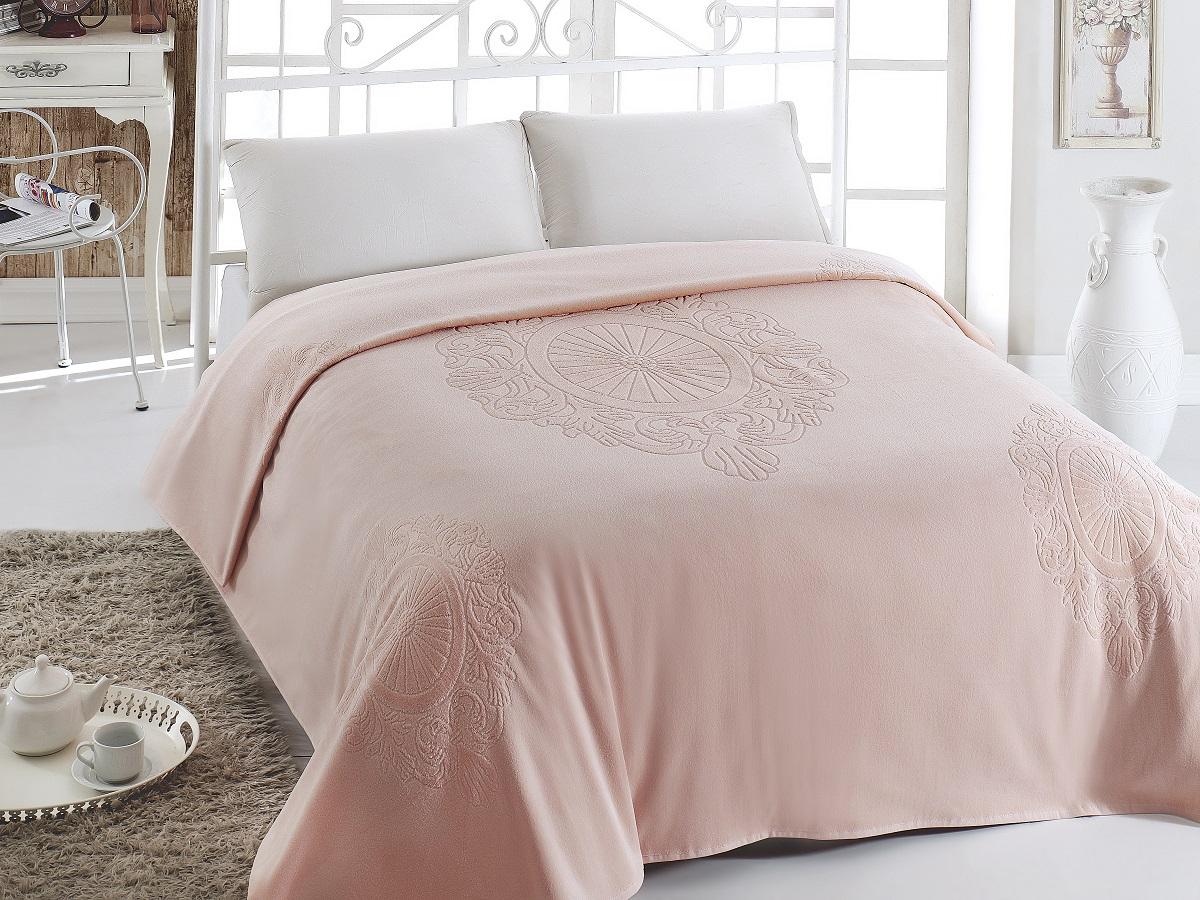 Простыни Pupilla, Покрывало-простынь Eftalya Цвет: Розовый (200х220 см), Турция, Хлопковый велюр  - Купить