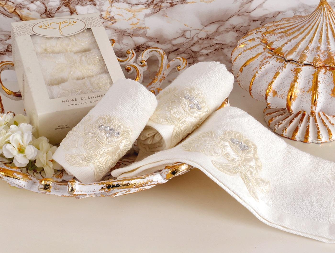 Купить Полотенца IRYA, Полотенце Show Цвет: Молочный (30х50 см - 3 шт), Турция, Бежевый, Махра