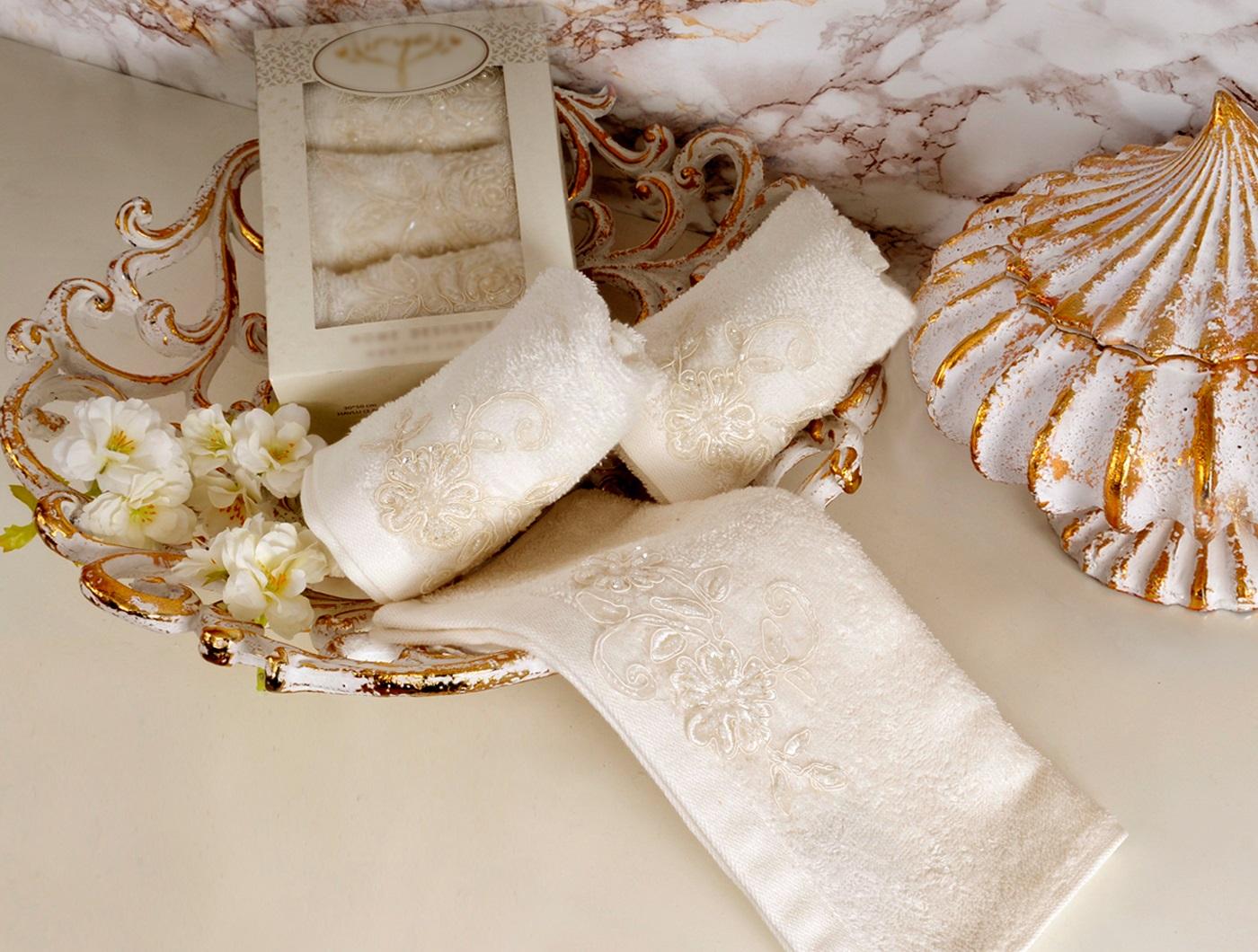 Купить Полотенца IRYA, Полотенце Sweet Цвет: Молочный (30х50 см - 3 шт), Турция, Бежевый, Махра