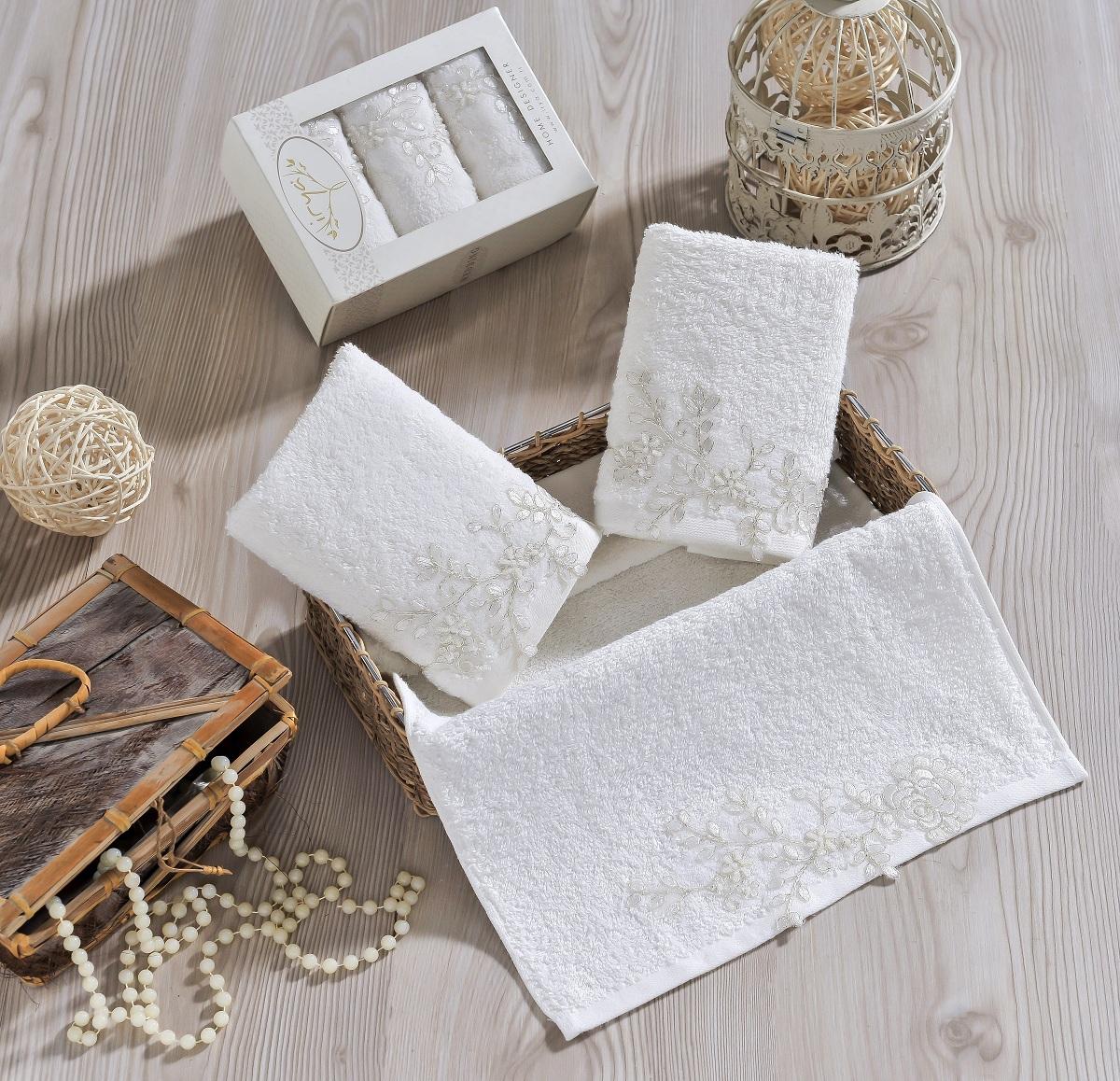 Купить Полотенца IRYA, Полотенце Sensitive Цвет: Молочный (30х50 см - 3 шт), Турция, Бежевый, Махра