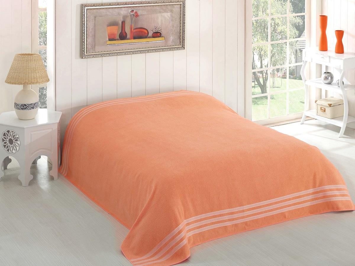 Купить Простыни Karna, Покрывало-простыня Petek Цвет: Абрикосовый (200х220 см), Турция, Оранжевый, Хлопковая махра