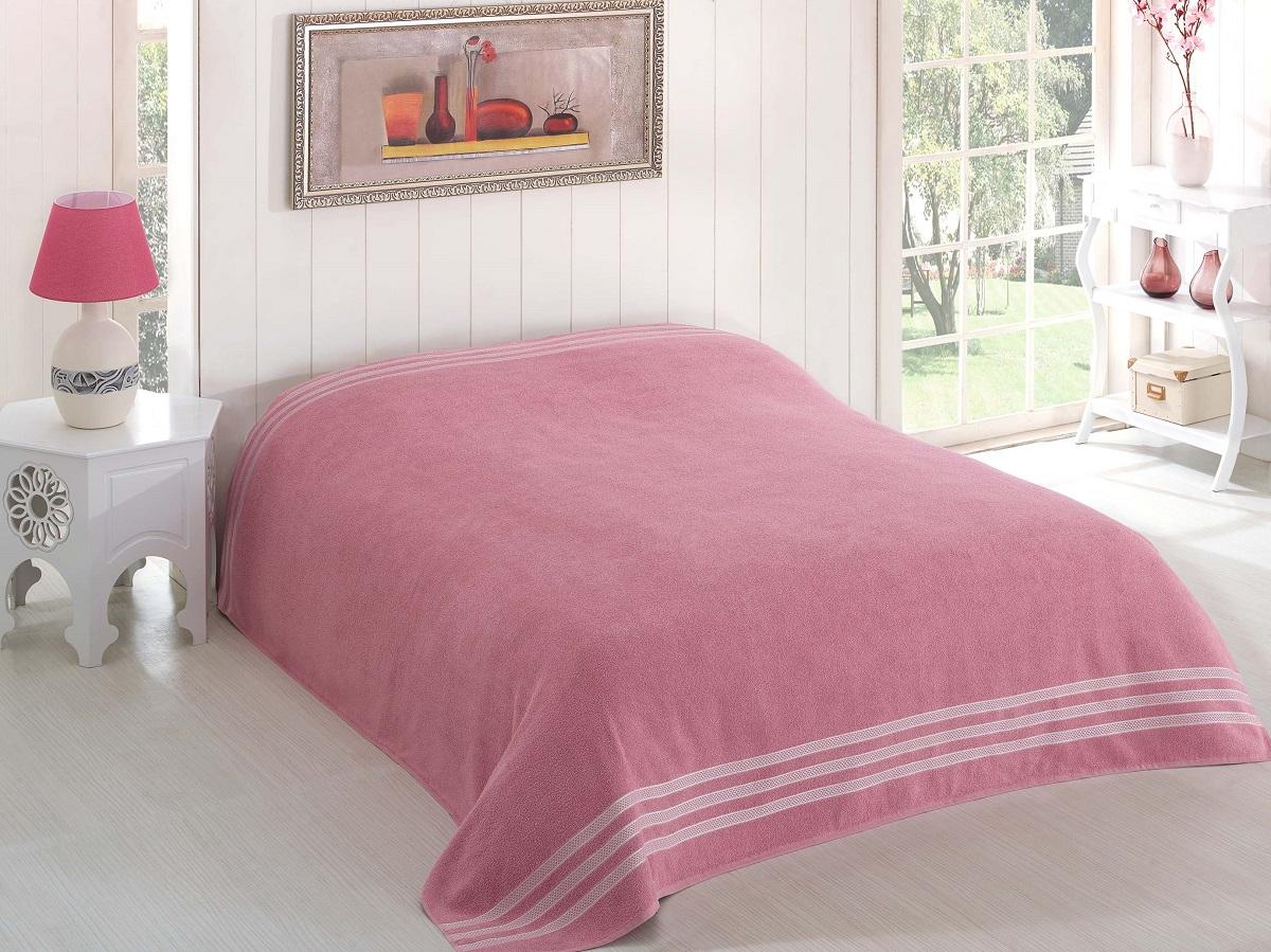 Купить Простыни Karna, Покрывало-простыня Petek Цвет: Грязно-Розовый (200х220 см), Турция, Хлопковая махра