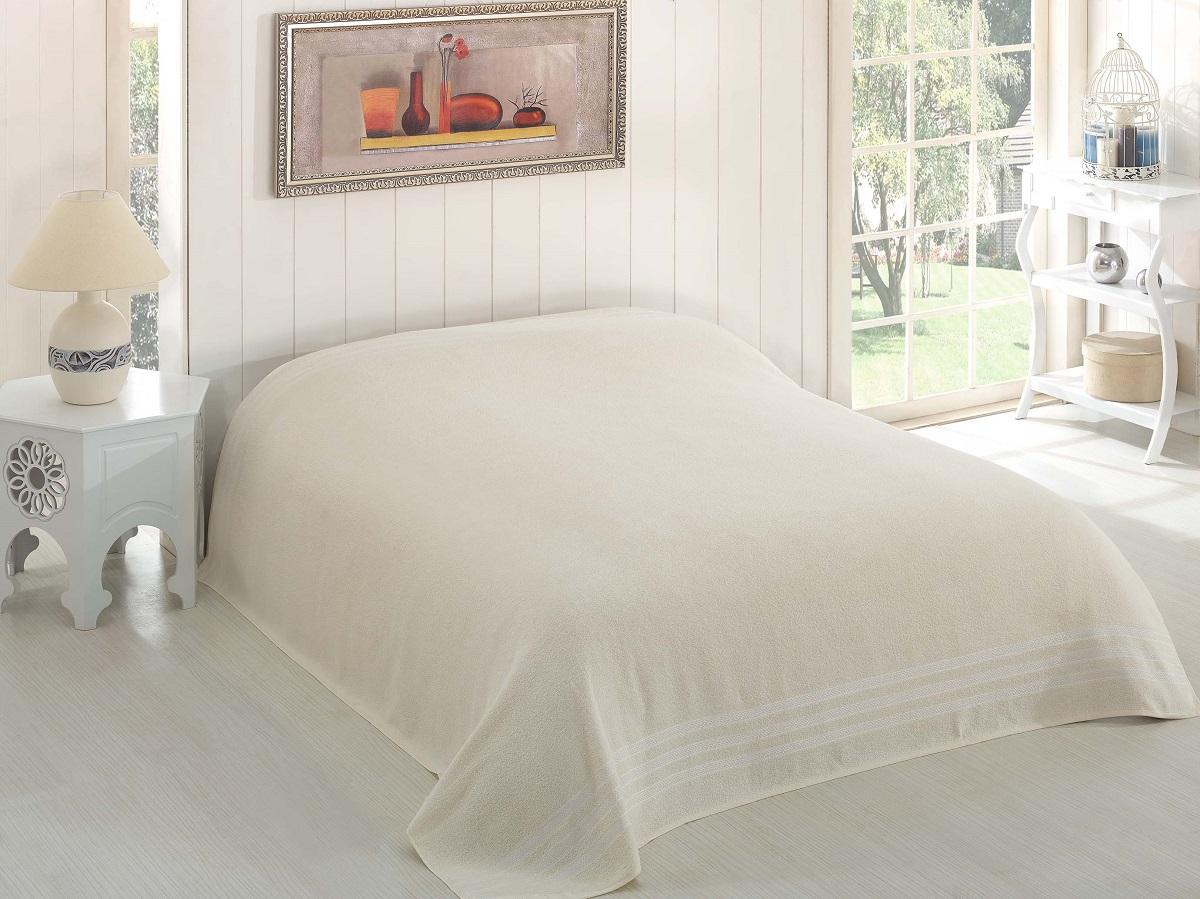 Купить Простыни Karna, Покрывало-простыня Petek Цвет: Кремовый (200х220 см), Турция, Хлопковая махра