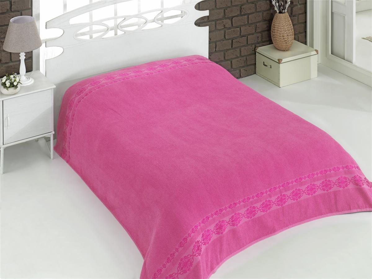 Купить Простыни Karna, Покрывало-простыня Rebeka Цвет: Розовый (200х220 см), Турция, Хлопковая махра
