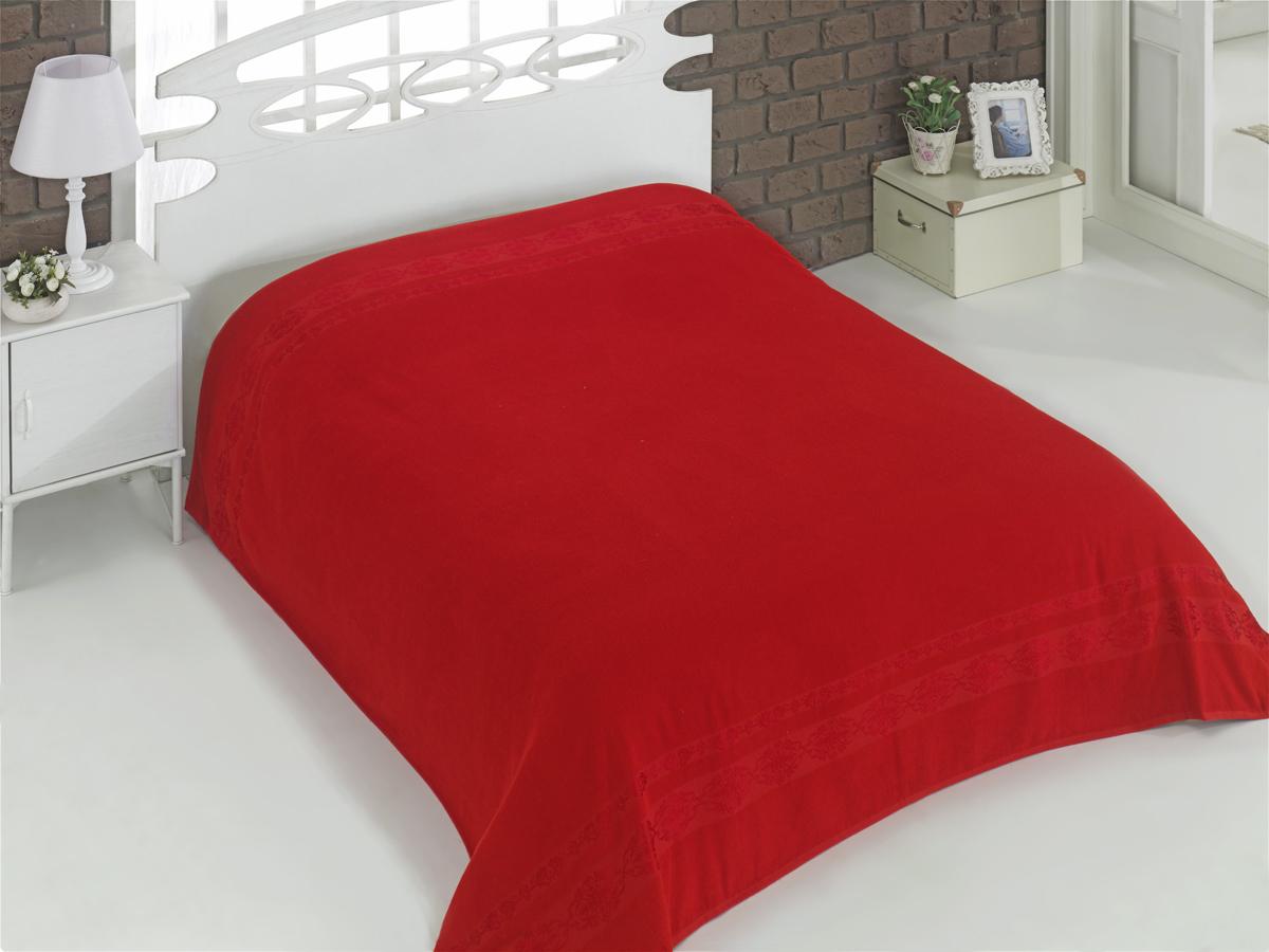 Купить Простыни Karna, Покрывало-простыня Rebeka Цвет: Красный (200х220 см), Турция, Хлопковая махра