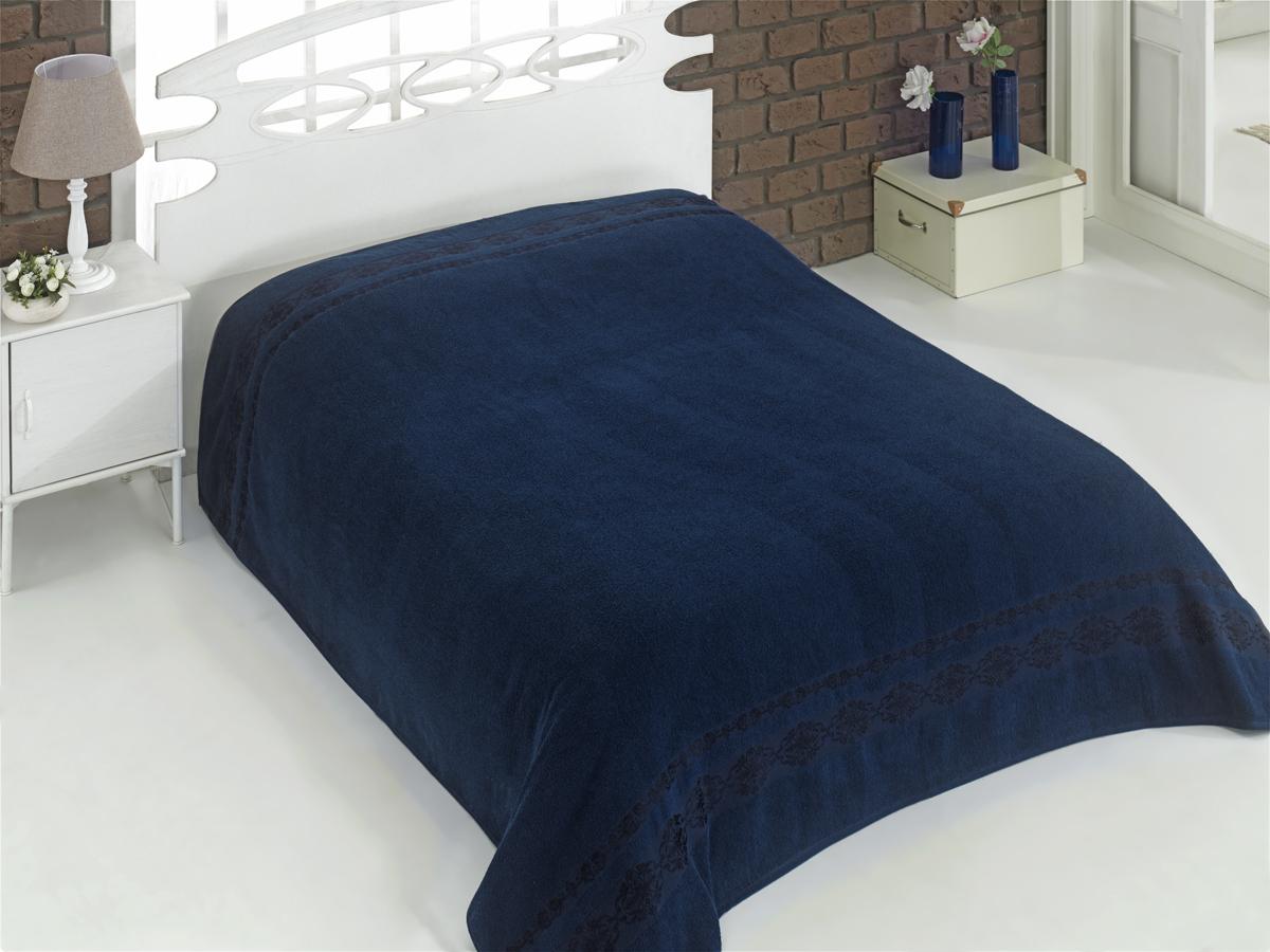 Купить Простыни Karna, Покрывало-простыня Rebeka Цвет: Синий (200х220 см), Турция, Хлопковая махра