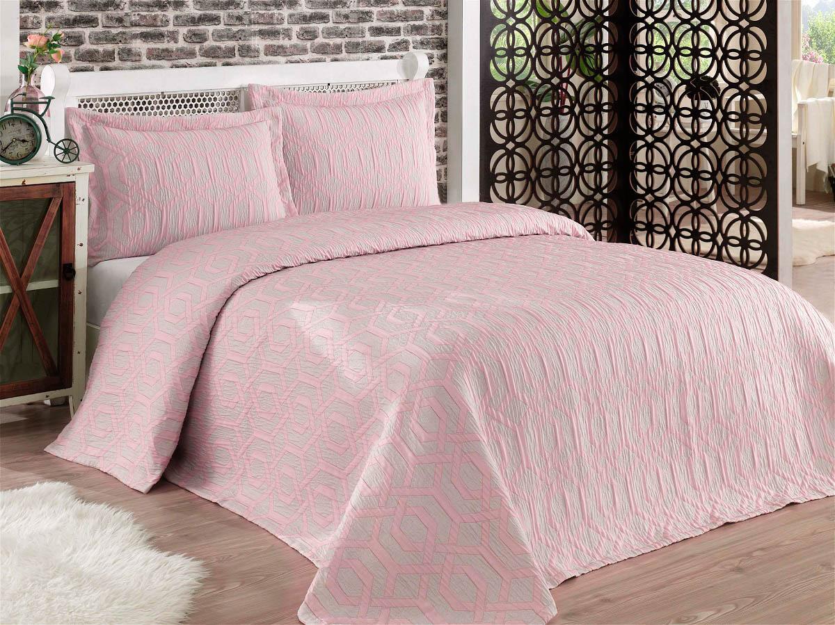Купить Пледы и покрывала Karna, Покрывало Zamora Цвет: Пудра (260х260 см), Турция, Розовый, Синтетический жаккард