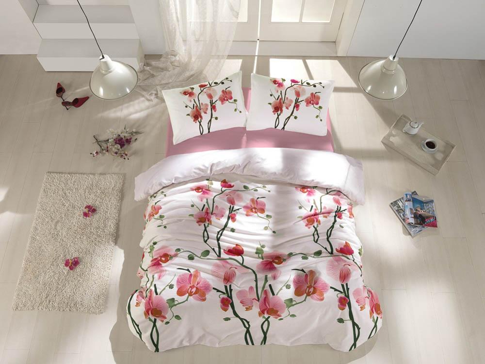 Купить Комплекты постельного белья Altinbasak, Постельное белье Bloom (2 сп. евро), Турция, Розовый, Бязь