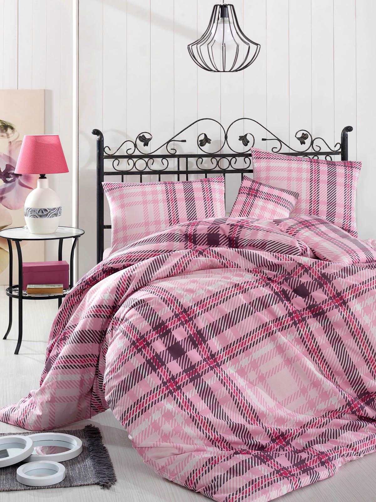 Купить Комплекты постельного белья Altinbasak, Постельное белье Aliz Цвет: Розовый (2 сп. евро), Турция, Бязь