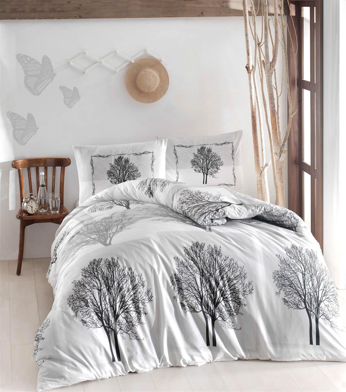 Купить Комплекты постельного белья Altinbasak, Постельное белье Tree Цвет: Серый (2 сп. евро), Турция, Белый, Серый, Бязь