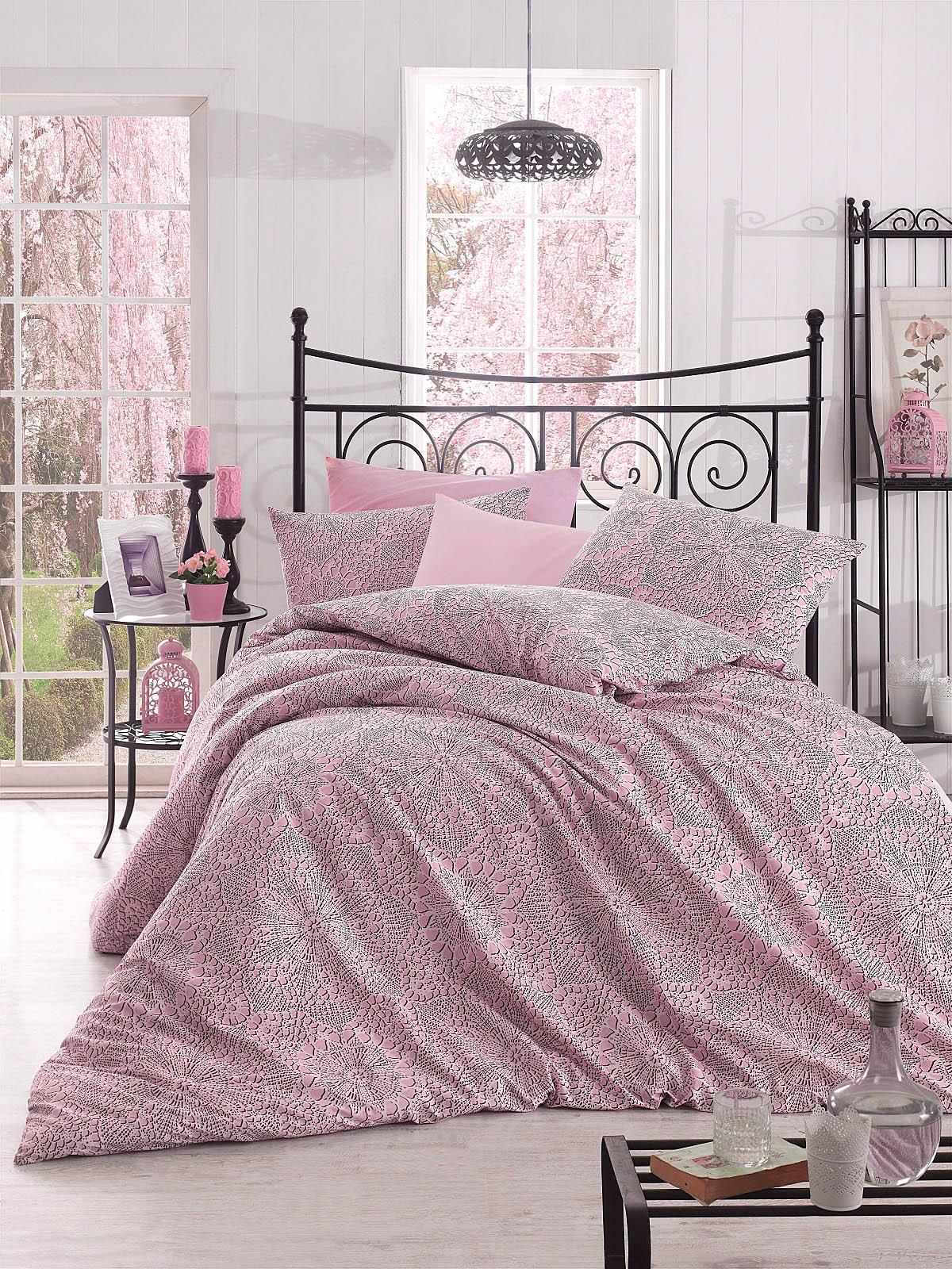 Купить Комплекты постельного белья Altinbasak, Постельное белье Rozi Цвет: Розовый (2 сп. евро), Турция, Бязь